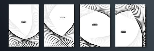 Modern black cover design set. luxury creative line pattern in premium colors: black, grey and white. formal vector for notebook cover, business poster, brochure template, magazine layout