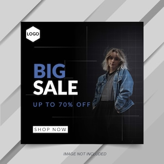 Modern black fashion sale instagram post template