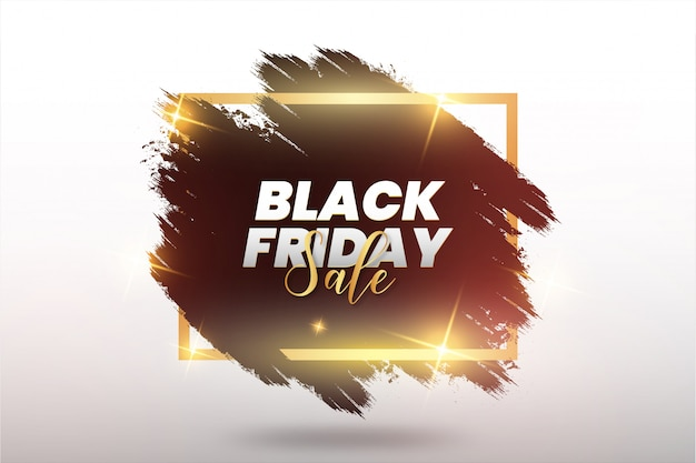 Modern black friday abstract brush stroke with golden frame Free Vector
