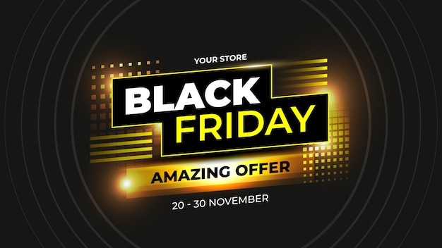 Modern black friday amazing offer with yellow abstract concept