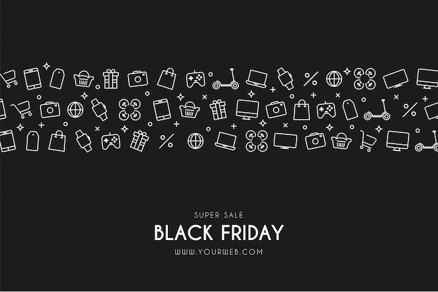 Modern black friday background with icons