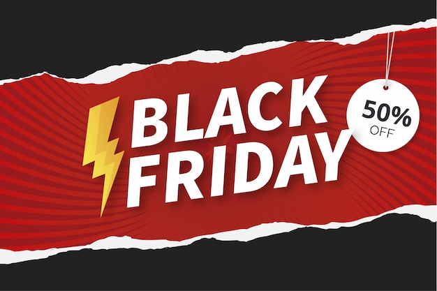Modern black friday background with paper texture Free Vector