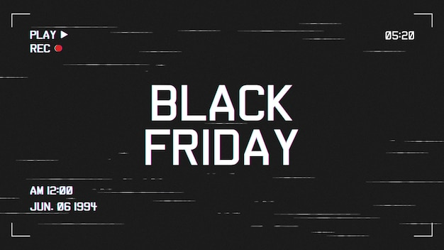 Modern black friday background with vhs effect template