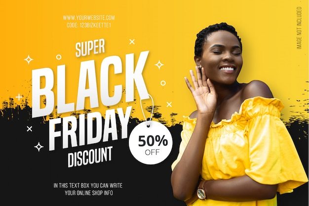 Modern black friday background with yellow splash Free Vector
