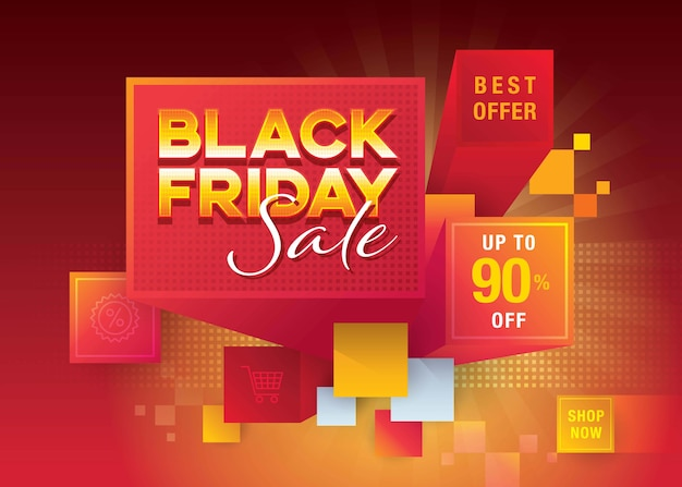 Modern black friday banner. black friday sale template, abstract black friday with red cube blocks.