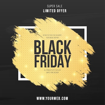 Modern black friday banner with abstract golden splash