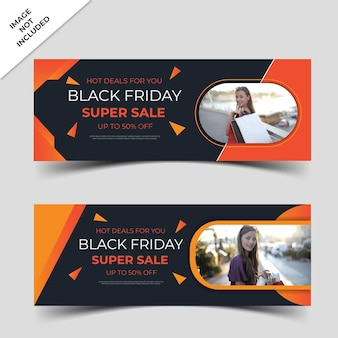 Modern black friday banner with abstract shapes