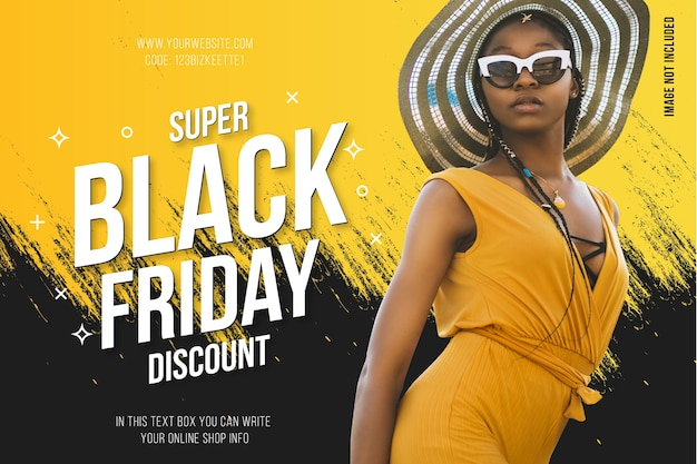 Modern black friday banner with abstract yellow splash