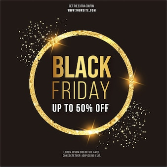 Modern black friday banner with gold frame