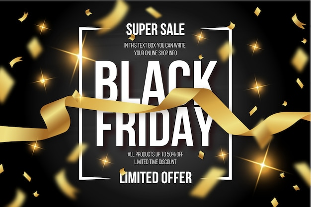 Modern black friday banner with golden confetti
