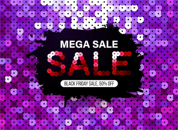 특별 제안 판매 및 할인을 위한 보라색 스팽글 패브릭 효과가 있는 현대적인 블랙 프라이데이 배너