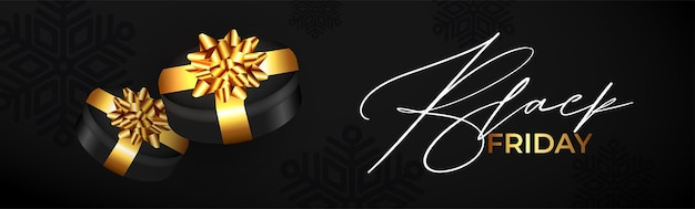 Modern black friday banner with realistic gift
