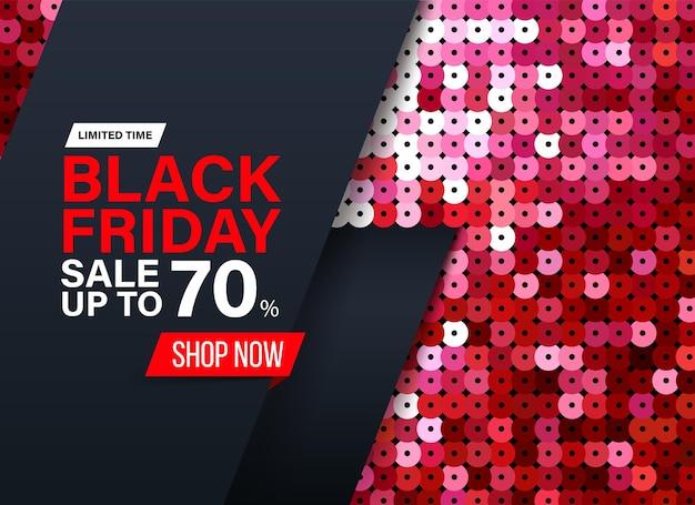 특별 판매 및 할인을 위한 빨간색 스팽글 패브릭 효과가 있는 현대적인 블랙 프라이데이 배너