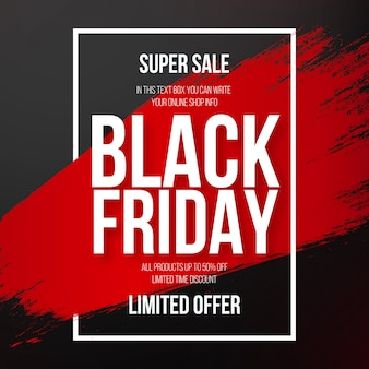 Modern black friday banner with red splash