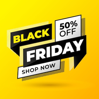 Modern black friday banner with yellow background