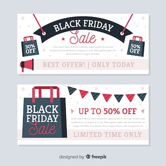 Modern black friday banners with flat design