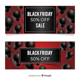 Modern black friday banners with realistic balloons