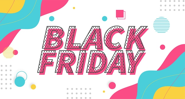 Vendita super colorata del black friday moderno con sfondo di memphis