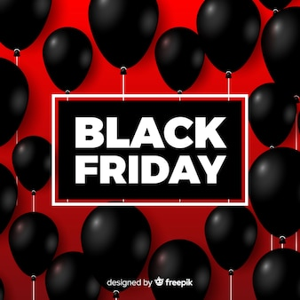 Modern black friday composition with realistic balloons