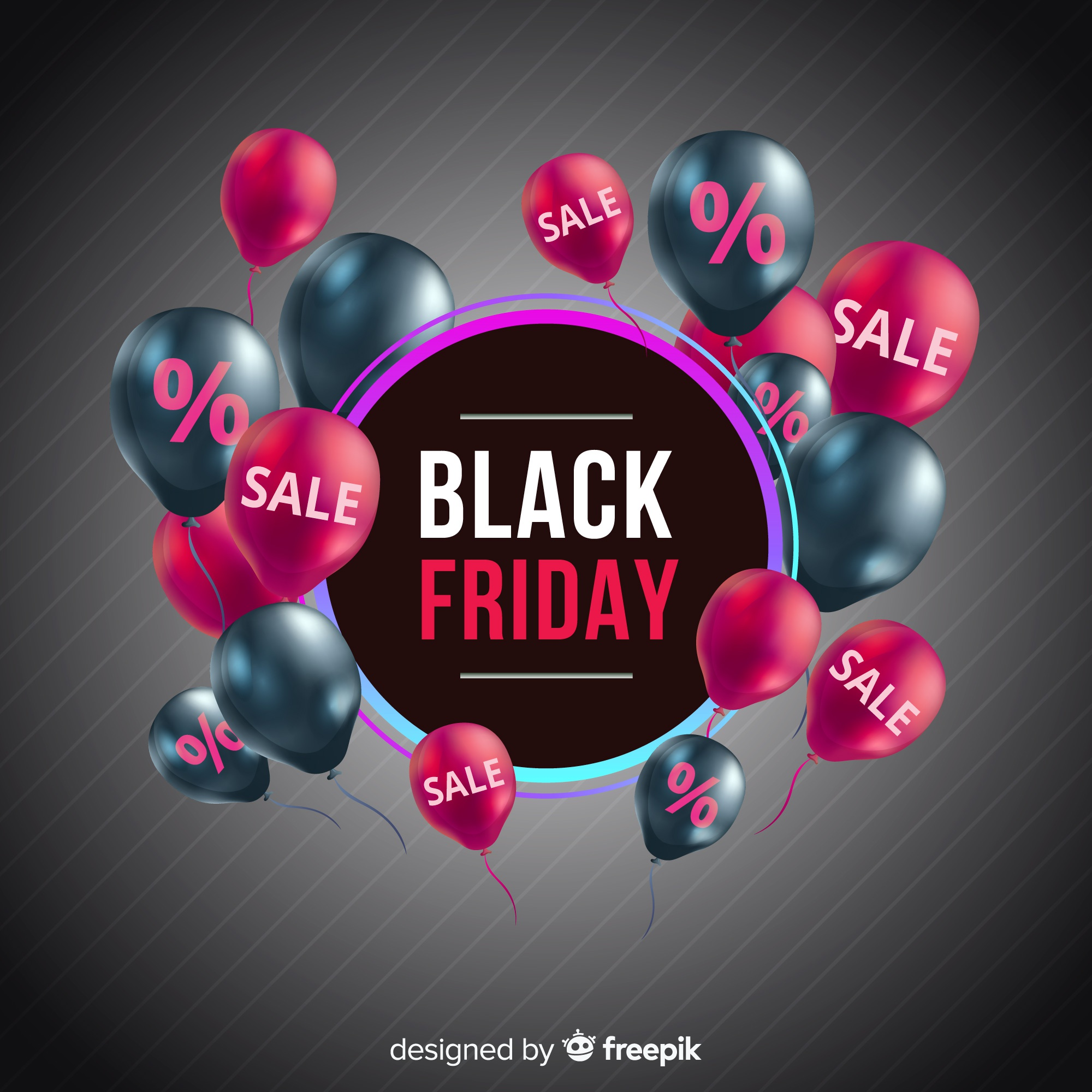 Modern black friday composition with realistic design