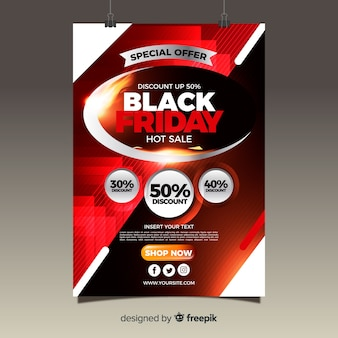 Modern black friday flyer template with flat design