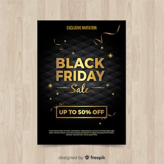 Modern black friday flyer template with realistic design