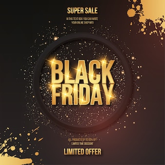Modern black friday golden sale with text effect and splash frame