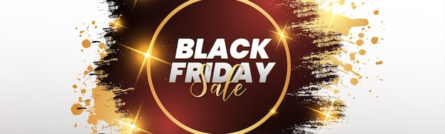 Modern black friday horizontal banner with brush stroke frame
