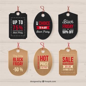 Collezione di etichette natalizie di friday nero