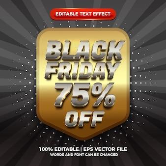 Современная распродажа черной пятницы 3d серебряный золотой редактируемый текстовый эффект