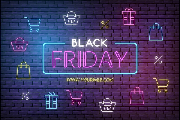 Modern black friday sale background with neon icons