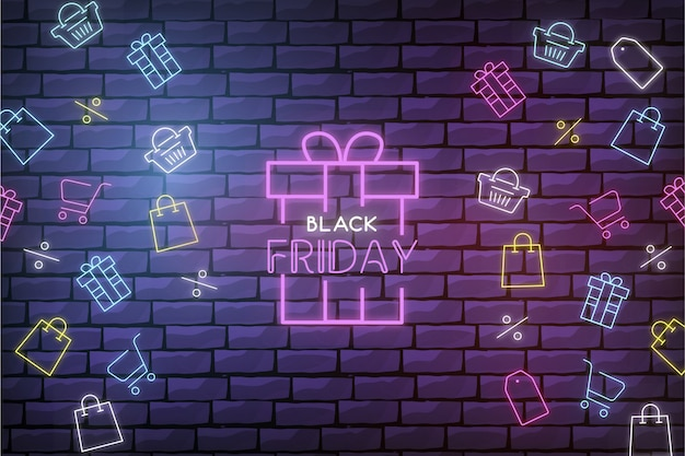 Modern black friday sale background with neon shop elements