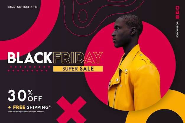 Modern black friday sale banner with abstract shapes