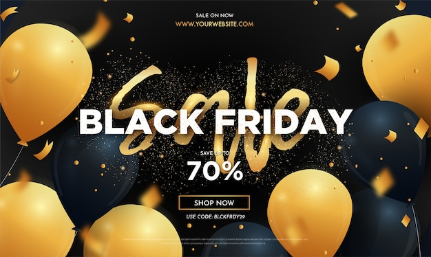 Modern black friday sale banner with realistic balloons and cute text