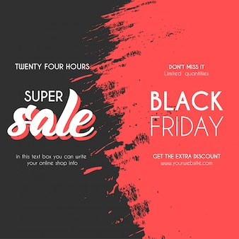Modern black friday sale banner with splash