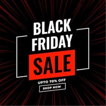 Modern black friday sale banner with zoom lines