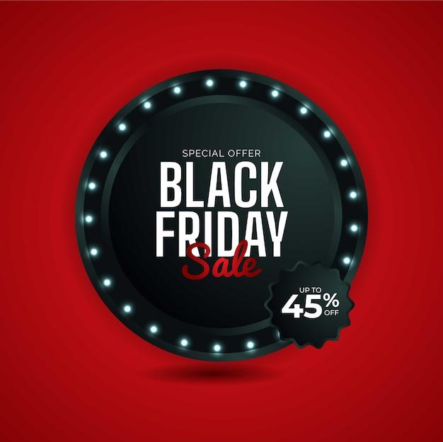 Modern black friday sale design in red background.