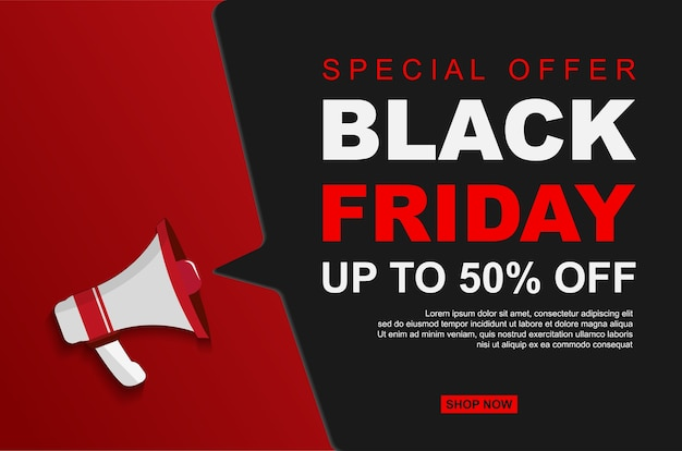 Modern black friday sale up to 50% off with megaphones.