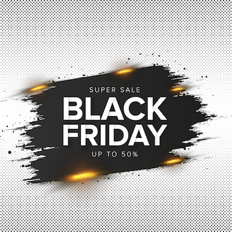 Modern black friday sale with abstract brush stroke