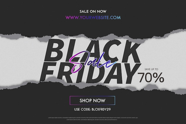 Modern black friday sale with papercut design banner