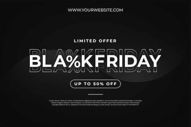 Modern black friday sale with text effect and abstract wave background