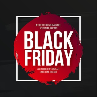 Vendita moderna del black friday con banner acquerello splash