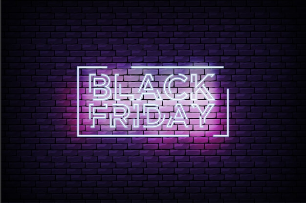 Modern black friday sign with neon frame