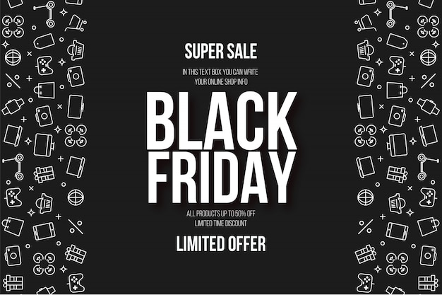 Modern black friday super sale background with flat icons