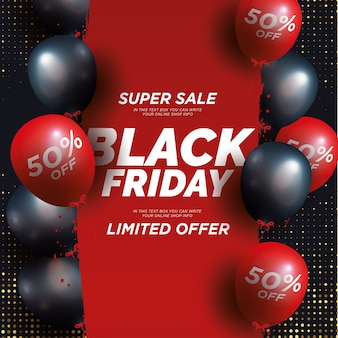 Modern black friday super sale with realistic balloons