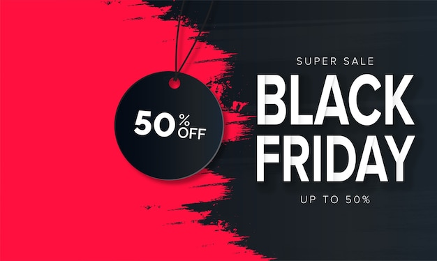 Modern black friday super sale with red brush stroke