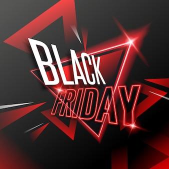 Современная черная пятница супер распродажа с красным неоновым дизайном баннера