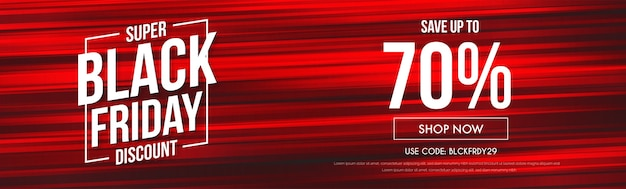 Vendita moderna dell'insegna del sito web di black friday con le linee rosse astratte di velocità
