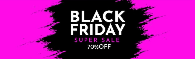 Modern black friday website banner with abstract brush stroke