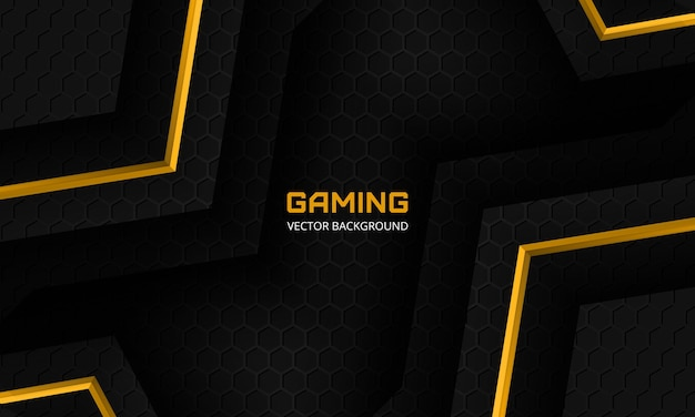 Modern black gaming background with yellow angles hexagon carbon fiber grid and black triangles
